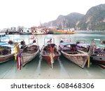 long tail boats at tonsai pier  ... | Shutterstock . vector #608468306