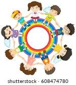 kids holding hands around a... | Shutterstock .eps vector #608474780