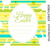 happy easter card template with ... | Shutterstock .eps vector #608474804