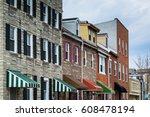 row houses in little italy ... | Shutterstock . vector #608478194