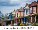 colorful row houses along... | Shutterstock . vector #608478218