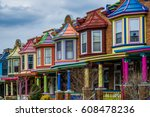 colorful row houses along... | Shutterstock . vector #608478236