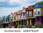 colorful row houses along... | Shutterstock . vector #608478269