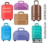 suitcase. journey. case.... | Shutterstock .eps vector #608481320