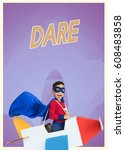 superhero kid boy with paper... | Shutterstock . vector #608483858
