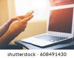 female hands using a smart... | Shutterstock . vector #608491430
