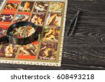 collecting postage stamps.... | Shutterstock . vector #608493218