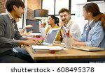 group of businesspersons having ... | Shutterstock . vector #608495378