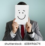 drawing facial expressions... | Shutterstock . vector #608496674