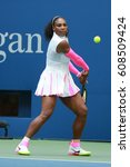 Small photo of NEW YORK - SEPTEMBER 5, 2016: Grand Slam champion Serena Williams of United States in action during her round four match at US Open 2016 at Billie Jean King National Tennis Center in New York