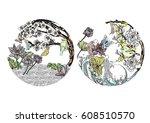 vector set koi  birds ... | Shutterstock .eps vector #608510570