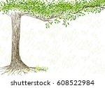 hand drawn tree on white... | Shutterstock .eps vector #608522984