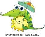 kind crocodile is on friendly...   Shutterstock .eps vector #60852367