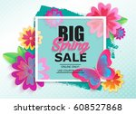 Big Spring Sale Banner With...