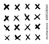 vector x marks  hand draw cross ... | Shutterstock .eps vector #608528060