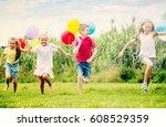active kids having fun and... | Shutterstock . vector #608529359