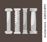 greek culture antique columns... | Shutterstock .eps vector #608531894