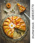apricot pie   delicious...   Shutterstock . vector #608535770