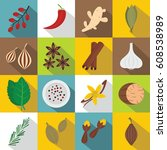 spice icons set. flat... | Shutterstock . vector #608538989