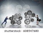 teamwork concept with... | Shutterstock . vector #608547680