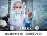 doctor in futuristic medical... | Shutterstock . vector #608550530