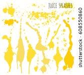 juice orange and apple splashes ... | Shutterstock .eps vector #608550860
