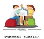 team teamwork join hands... | Shutterstock .eps vector #608551214