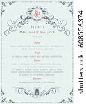 ornate classic wedding menu... | Shutterstock .eps vector #608556374