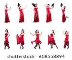 female dancer dancing spanish... | Shutterstock . vector #608558894