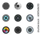camera lens aperture icons set. ... | Shutterstock . vector #608568650