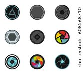 photography icons set. flat... | Shutterstock . vector #608568710