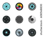 camera aperture icons set. flat ... | Shutterstock . vector #608568830