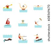 people swimming  sailing ... | Shutterstock . vector #608569670