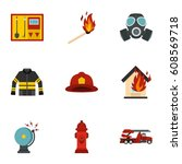 useful fire serivice icons set. ... | Shutterstock . vector #608569718