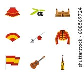 spanish elements icons set.... | Shutterstock . vector #608569724