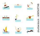 summer sport icons set. flat... | Shutterstock . vector #608569748