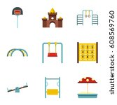 kindergarten playground icons... | Shutterstock . vector #608569760