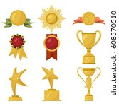 medals and gold cups collection ... | Shutterstock .eps vector #608570510