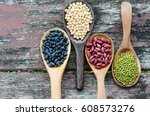 four kinds of natural grains ... | Shutterstock . vector #608573276