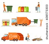 garbage collector at work... | Shutterstock .eps vector #608573303