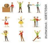 oktoberfest beer festival... | Shutterstock .eps vector #608573564