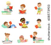 kids reading books and enjoying ... | Shutterstock .eps vector #608573903