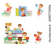 kids reading books and enjoying ... | Shutterstock .eps vector #608573906