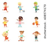 small kids playing sportive... | Shutterstock .eps vector #608574170