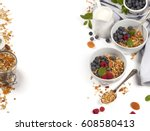 homemade granola  with dried... | Shutterstock . vector #608580413