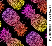 background with fresh exotic... | Shutterstock .eps vector #608581964