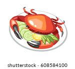 crab with cucumber dish food   Shutterstock .eps vector #608584100