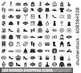 100 woman shopping icons set in ... | Shutterstock . vector #608584538