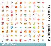 100 joy icons set in cartoon...   Shutterstock . vector #608585753