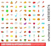 100 food and kitchen icons set... | Shutterstock . vector #608585876